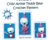 Pattern 2.5inch Mini Chibi Anime Crochet Teddy Bear of Thread by Artist Calvina