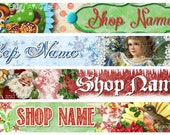 Christmas Etsy Shop Banner and Avatar by Sea Dream Studio - pick one