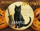 Vintage Halloween Cat Greeting  Image Download JPEG