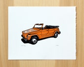 VW Type 181 Thing - Letterpress Linocut