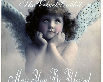 Angel girl with wings. May you be blessed..Just darling.Vintage inspired.Instant digital download