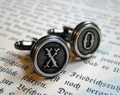 Father's Day Sale, Letter Cufflinks, Wedding Cufflinks, Groomsmens Gifts, Made to Order - Antiqued Silver
