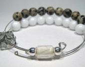 Healing Gemstone Row Counter Bracelet Abacus for Knitting or Crochet - Dalmatian Jasper