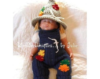 Thanksgiving costume baby scarecrow hat and overalls Fall Harvest photography prop