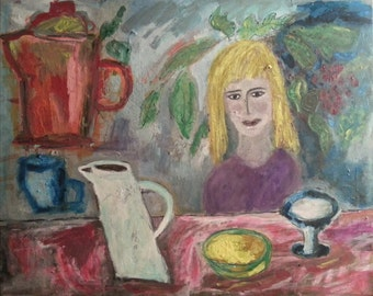 """Original painting, """"Sunny Afternoon Teatime"""", acrylic on canvas, self taught artist, colorful"""