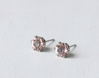 Timeless Vintage Rose Pink Swarovski Crystal Diamond Cut Stud Earrings 6mm. Nickel Free Earrings. Simple Everyday Earrings.