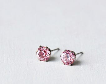 Timeless PINK Swarovski Crystal Diamond Cut Stud Earrings 6mm. Nickel Free Earrings. Simple Everyday Earrings.