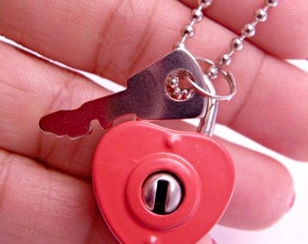 Unlock Your Love Red Heart Padlock Necklace with 18 Inch Ballchain
