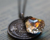 Reserved for Juli Chandelier Necklace with Vintage Coin and Swarovski Crystal