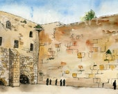 Jewish Art   jewish gifts   jerusalem Israel Western Wall   JUDAICA art   landscape painting   watercolor print   hanukkah gift idea