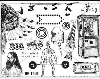 unmounted plate rubber stamps circus big top zoltan shoes   Rubber Stamp  tateam EUC team   no.949