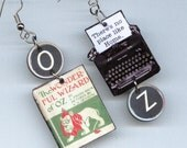 Book Cover Earrings - The Wizard of Oz  L Frank Baum quote - Typewriter key jewelry - book club readers literary gift
