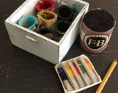 Dolls House Pale Blue Shabby Artists Box