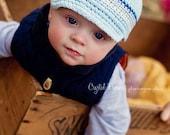 Crochet Baby Hat, Baby Boy Hat, Newsboy Hat, Baby Newborn Hat, Baby Boy, Blue Grey White, Newborn Hat, Newborn Baby Hat, Crochet Hat