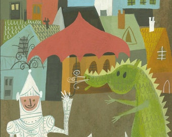 Sir Henry always enjoyed the company of a friendly dragon.  Limited edition print by Matte Stephens.