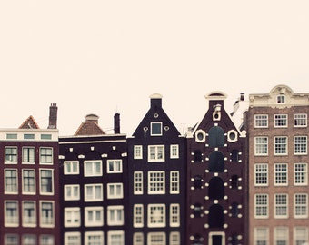 "Amsterdam Photograph, Large Wall Art Print, Travel Photography, Large Art, Architecture Print, Fine Art Photography ""Crooked Houses"""