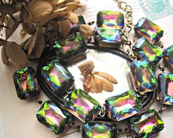 statement Necklace, collet necklace, Georgian, Jane Austen, Downton abbey necklace, Anna Wintour, multi color necklace, art deco.