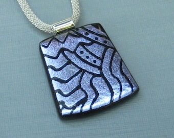 Purple Glass Slide, Dichroic Jewelry, Dichroic Pendant, Hand Etched  Pendant, Fused Glass Pendant - Purple Glass Etched Pendant