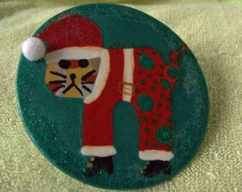 Christmas Cat Pin -- Mad Cat - Cute