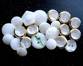 Pretty Lot of Various Vintage White Moon Glow-Satin Glass Buttons