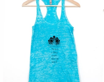 turquoise blue yoga tank top - burnout fabric - the grass is always greener where you water it