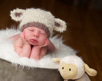 Baby lamb hat newborn photo prop hand knit curly cream brown taupe boy girl unisex unigender sheep animal beanie with ears neutral natural