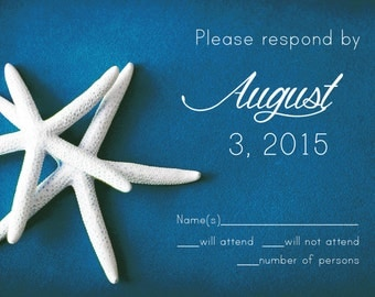 25 cards per set-  wedding response RSVP cards- white starfish