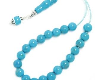 Worry Beads Komboloi ~ Turquoise Howlite Gemstone - Round Shape