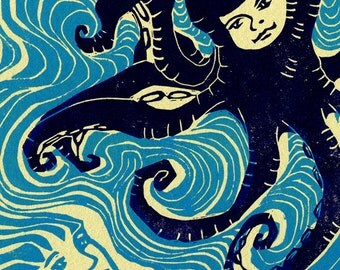 linocut hand pulled print Neither Swallowed the Other Whole