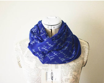 SUMMER SALE - Cobalt blue Mr. Darcy proposal scarf - Original- Jane Austen - more colors available