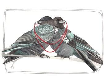 Home Decor Art Print - Art Print Watercolor - Art Print - Crow Illustration - Crow Print - Two Crows Art Print - 8x10 Art Print - Us and We