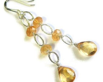 Gold Drop Earrings, Golden Honey, Champagne Quartz Gemstone Teardrops, Hessonite Garnet, Sterling Silver