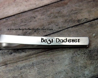 personalized tie bar-personalize tie clip-Tie clip-hand stamped-mens-groomsmen-fathers day-personalized dad gift