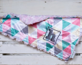 Personalized Little Fluffy Baby Blanket satin minky chevron geometric triangle hipster baby gift security blanket lovie lovey shower gift