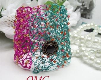 Wire Crochet Beaded Cuff Bracelet Turquoise and Fushia, Wire Crochet Cuff, Beaded Wire Crochet, Wire Bracelet, Wire Cuff