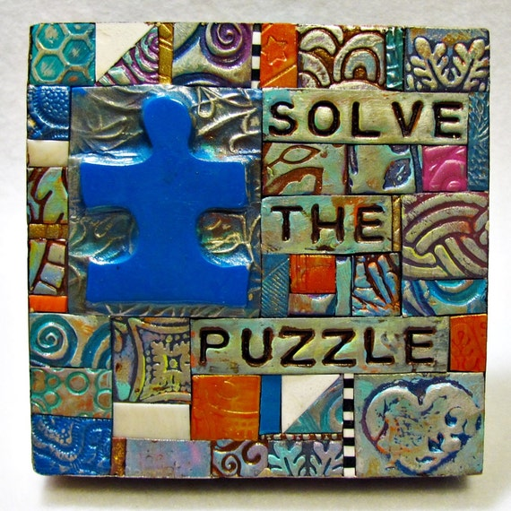 Solve the Puzzle - Autism - Polymer Clay Tile Mosiac MMCD002
