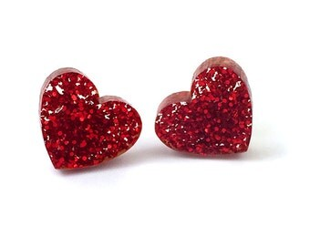 Red Glitter Acrylic Heart Earrings Heart Studs Valentines Jewelry Laser Cut Earrings Red Heart Studs Post Earrings Gift for Her Perspex