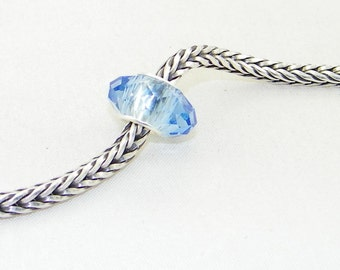 NEW - Light Sapphire faceted glass bead with sterling silver core for European charm bracelets and necklaces