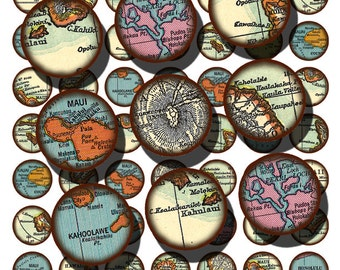 vintage Hawaiian maps in 1 inch circles a digital collage sheet from old maps of the islands, no. 1506.