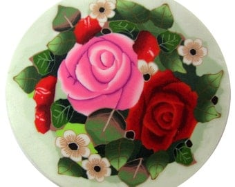 """Polymer clay cane milefiore. 1"""" wide. Detailed bouquet flowers -  Almost Fall..."""