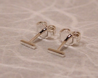 5mm x 1mm Tiny Silver Stud Earrings Silver Bar Stud Posts Mini Cute Earrings Thin Studs Skinny Minimalist Jewelry by Susan SARANTOS