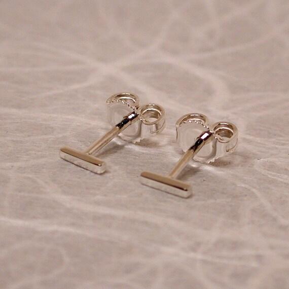 5mm x 1mm Tiny Silver Bar Stud Earrings Silver Bar Stud Posts Mini Cute Earrings Thin Studs Skinny Minimalist Jewelry by Susan Sarantos