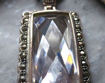 SALE  Sterling Silver Large Antique Style CZ Pendant