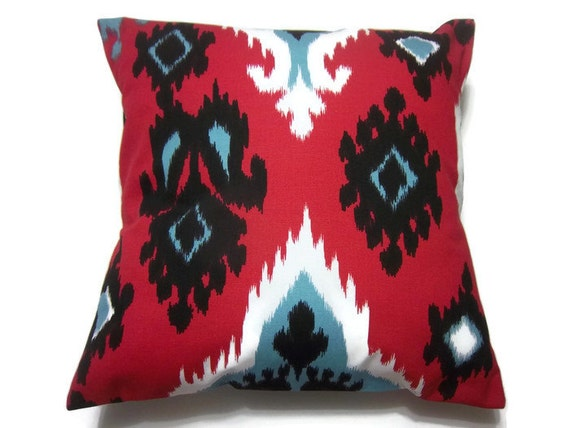 Decorative Pillow Cover Red Black White Blue by LynnesThisandThat