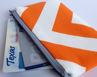 Zippered Coin Purse Wallet - Fabric Business Card Holder - Orange Chevron Stripes