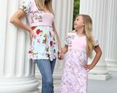 Girls Dress, jersey dress, ruffled dress, Shabby chic, romantic dress, pink blue dress, birds flowers, short sleeves, puff sleeves, school