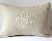 WEDDING Monogram Pillow Cover. Natural LINEN Decorative Throw Pillow. 2nd Anniversary Gift Cotton. Neutral Home Living Decor. SewGracious.