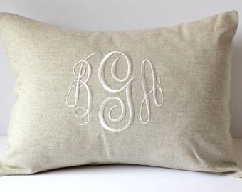 WEDDING Monogram Pillow Cover. Natural LINEN Decorative Throw Pillow. 2nd Anniversary Gift Cotton. Neutral Home Living Decor. SewGracious.