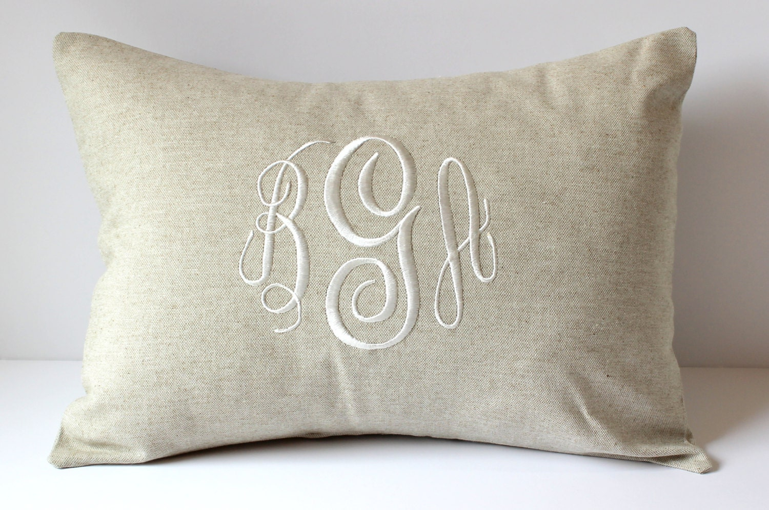 Natural Decorative Pillow : WEDDING Monogram Pillow Cover. Natural LINEN Decorative Throw
