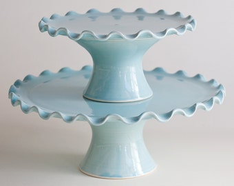 """Cake Stand Tier Set - Medium 10"""" and Small 7"""" - Ruffle Stands - Aqua - MADE TO ORDER"""